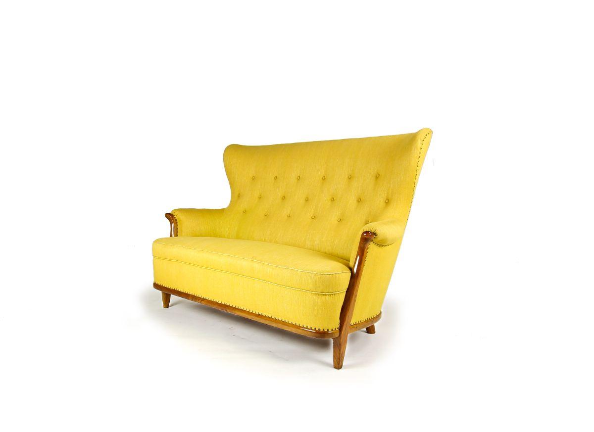 Swedish furniture yellow sofa wool walnut UK 1950's