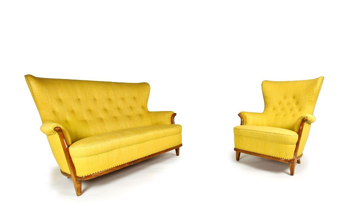 Mid century sofa button back yellow wool walnut 1950's