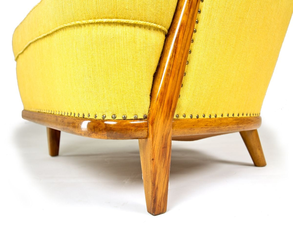 Mid century furniture armchair swedish design yellow wool walnut 1950's