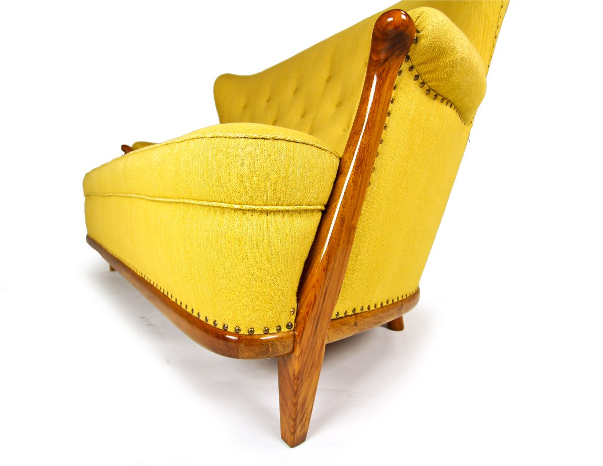 Mid century furniture yellow chair walnut Swedish design 1950's