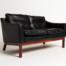 Danish leather sofa rosewood mid century modern