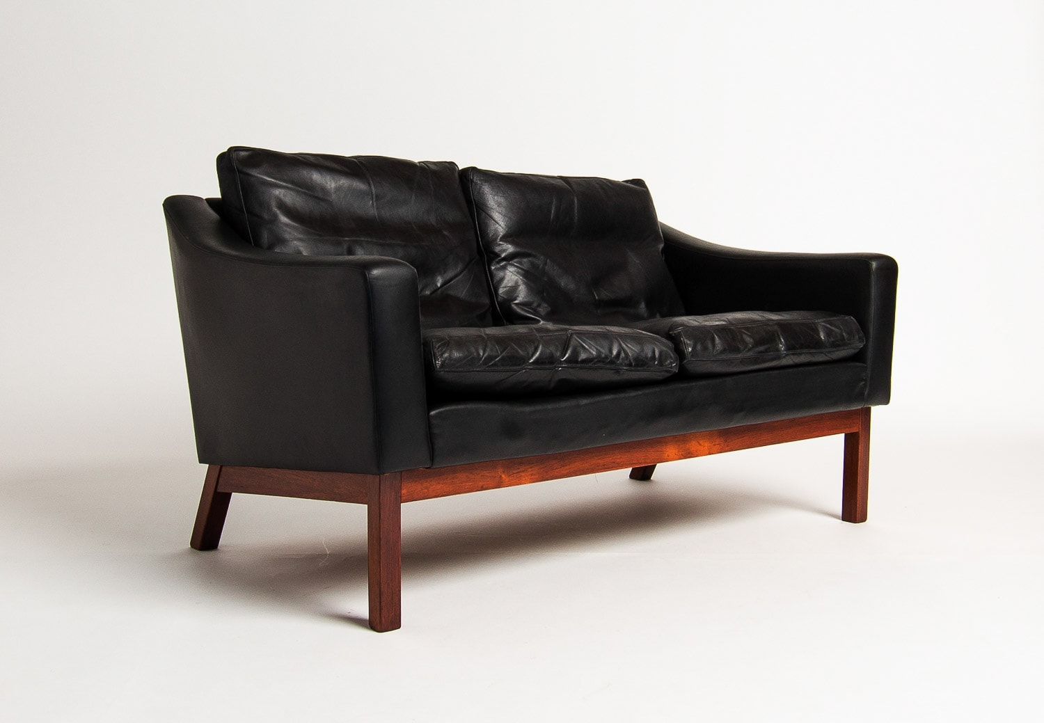 Danish leather sofa rosewood mid century modern