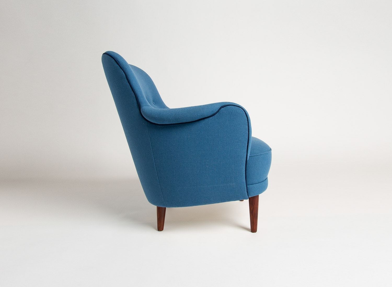 Mid centruy armchair swedish chair blue wool Malmsten