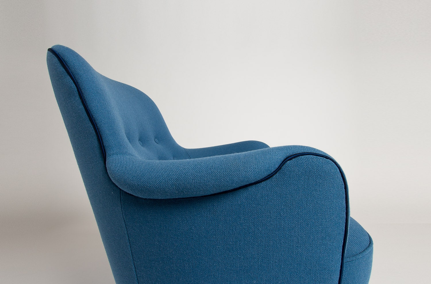 Mid century armchair danish design blue wool 1950's
