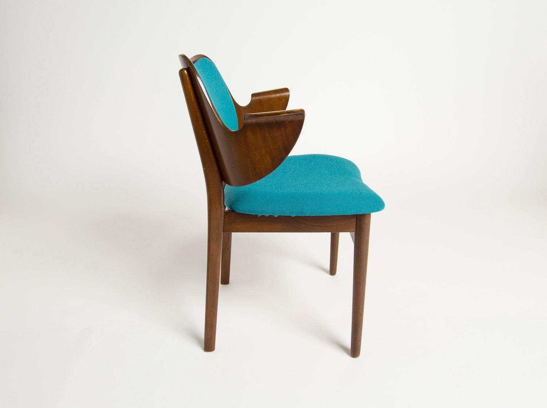 Hans olsen chair vintage furniture mid century armchair teal wool 1950's