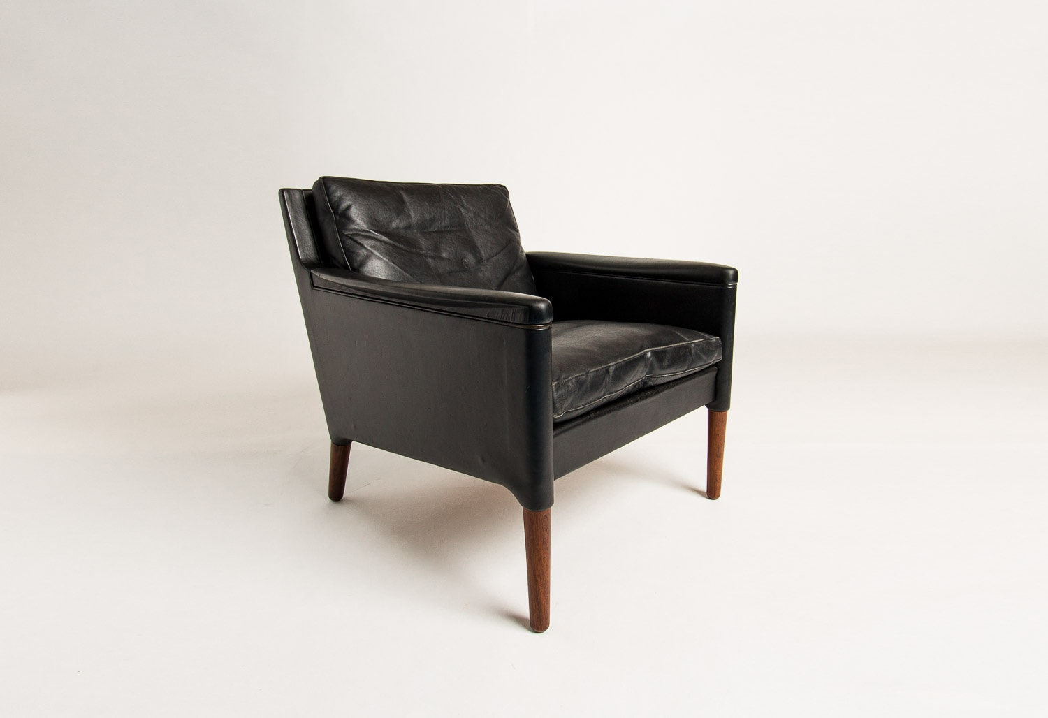 Danish armchair leather rosewood mid century modern 1950's