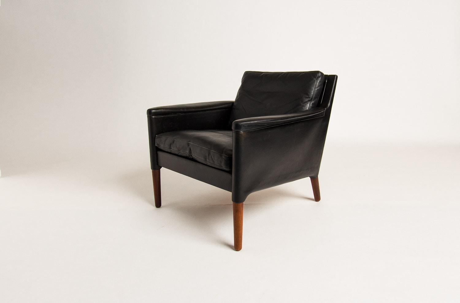 Mid century armchair Danish Leather rosewood 1950's