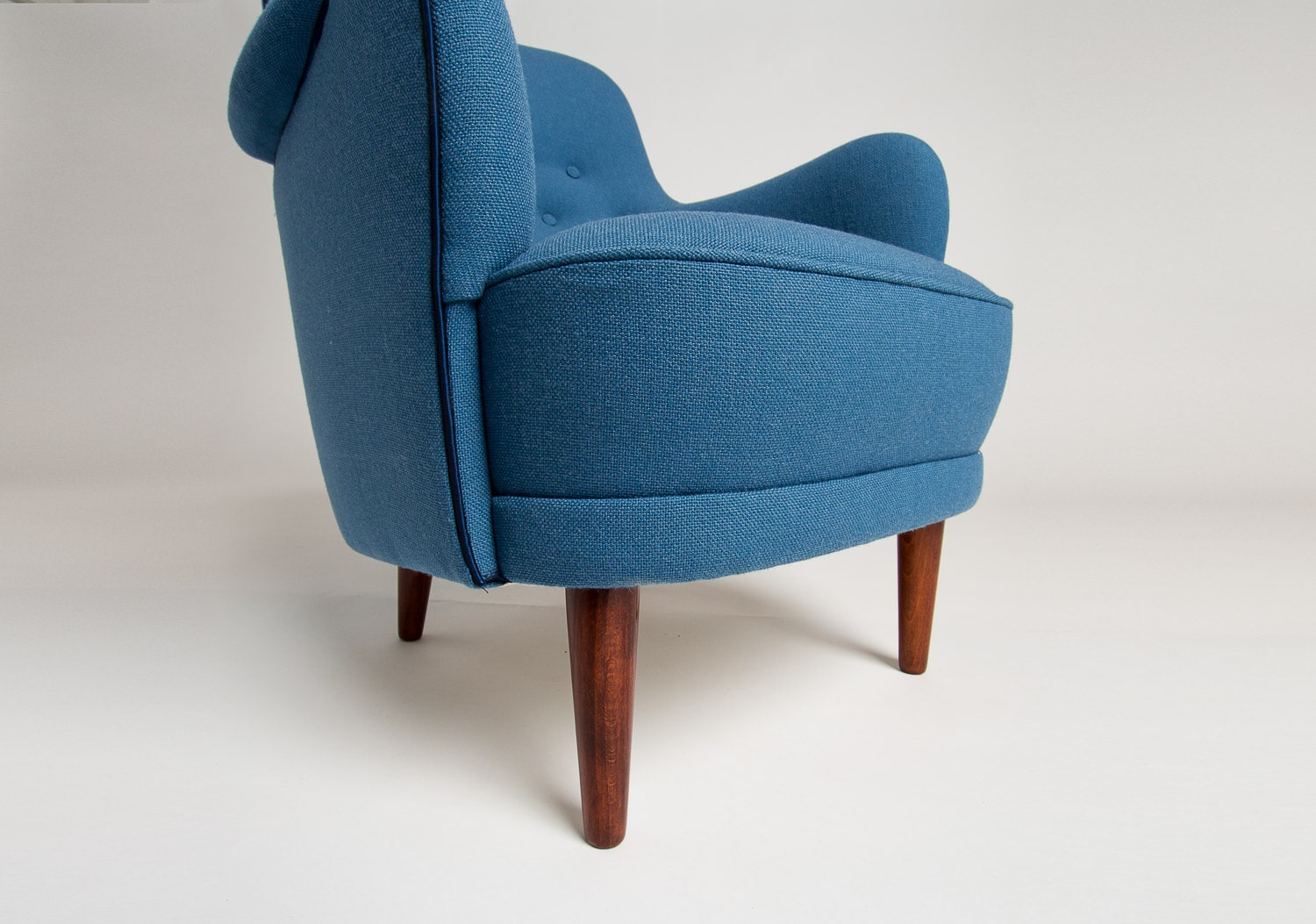 Carl Malmsten Samsas chair blue wool Swedish furniture UK