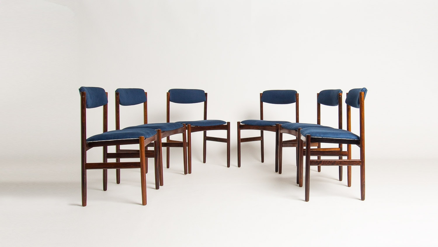 Mid century chair rosewood dining linen blue