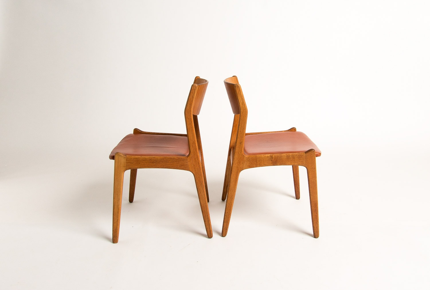 Mid century dining chairs Danish leather oak 1950's