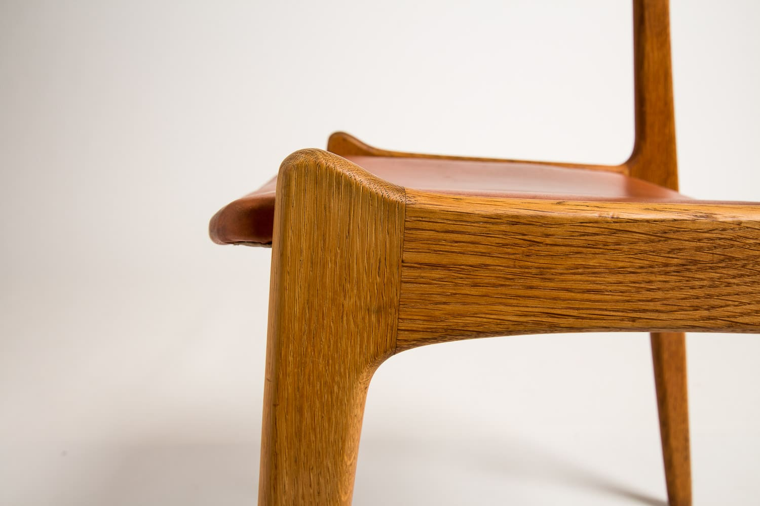 Danish dining chairs Leather oak 1950's mid century modern