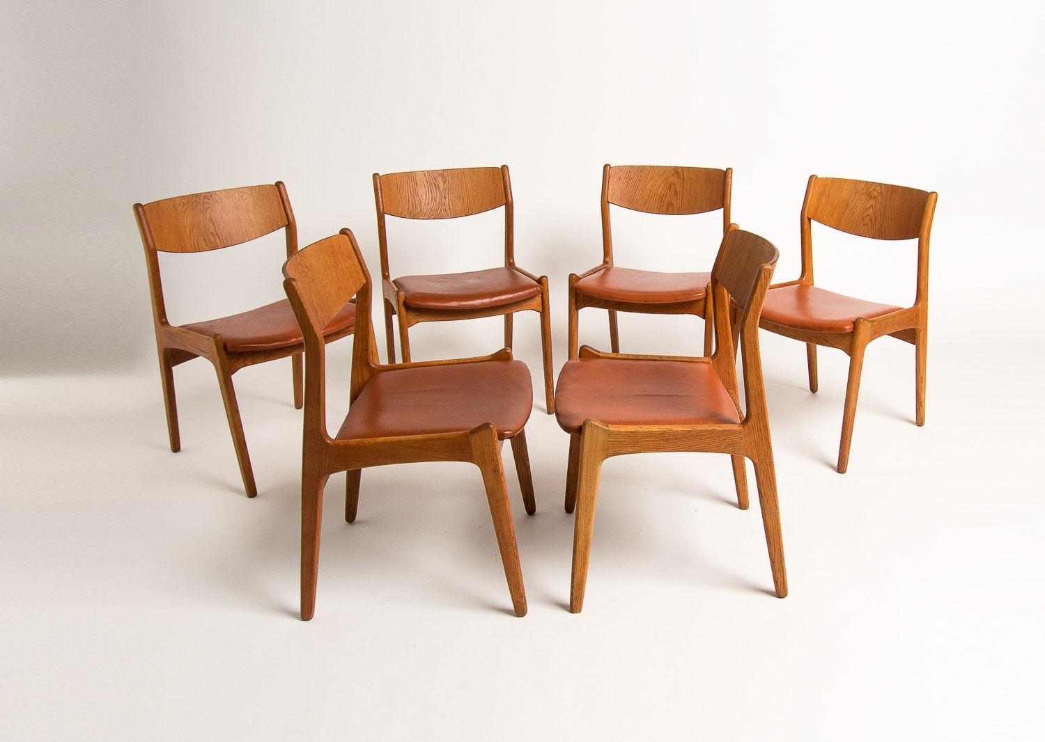 Danish Design oak dining chairs leather mid century UK