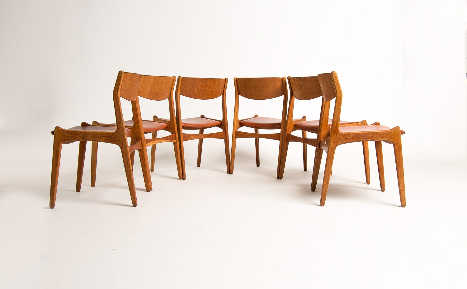 Danish Design leather dining chairs mid century modern UK