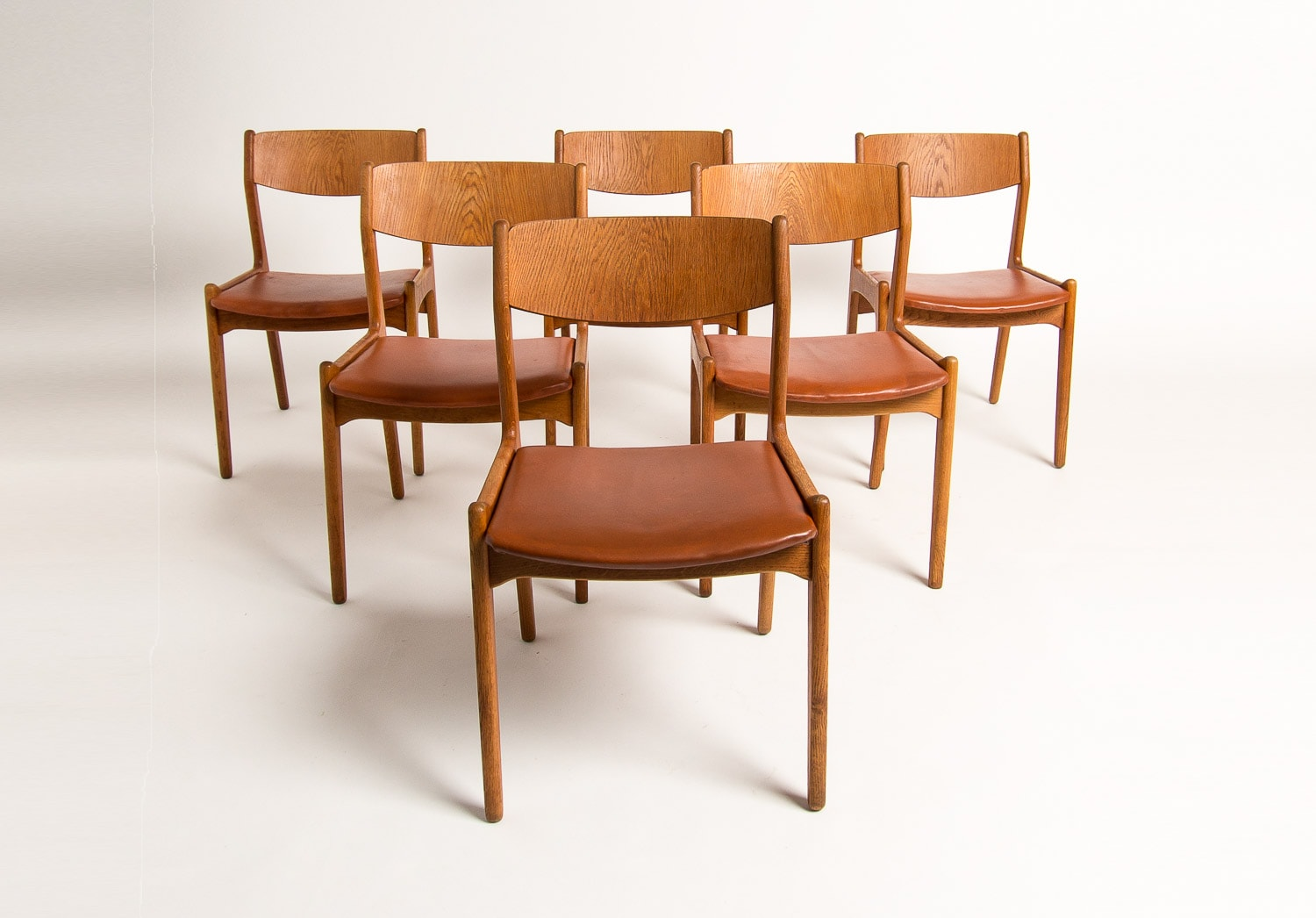 Danish design mid century dining chairs in Oak & Leather 1950's