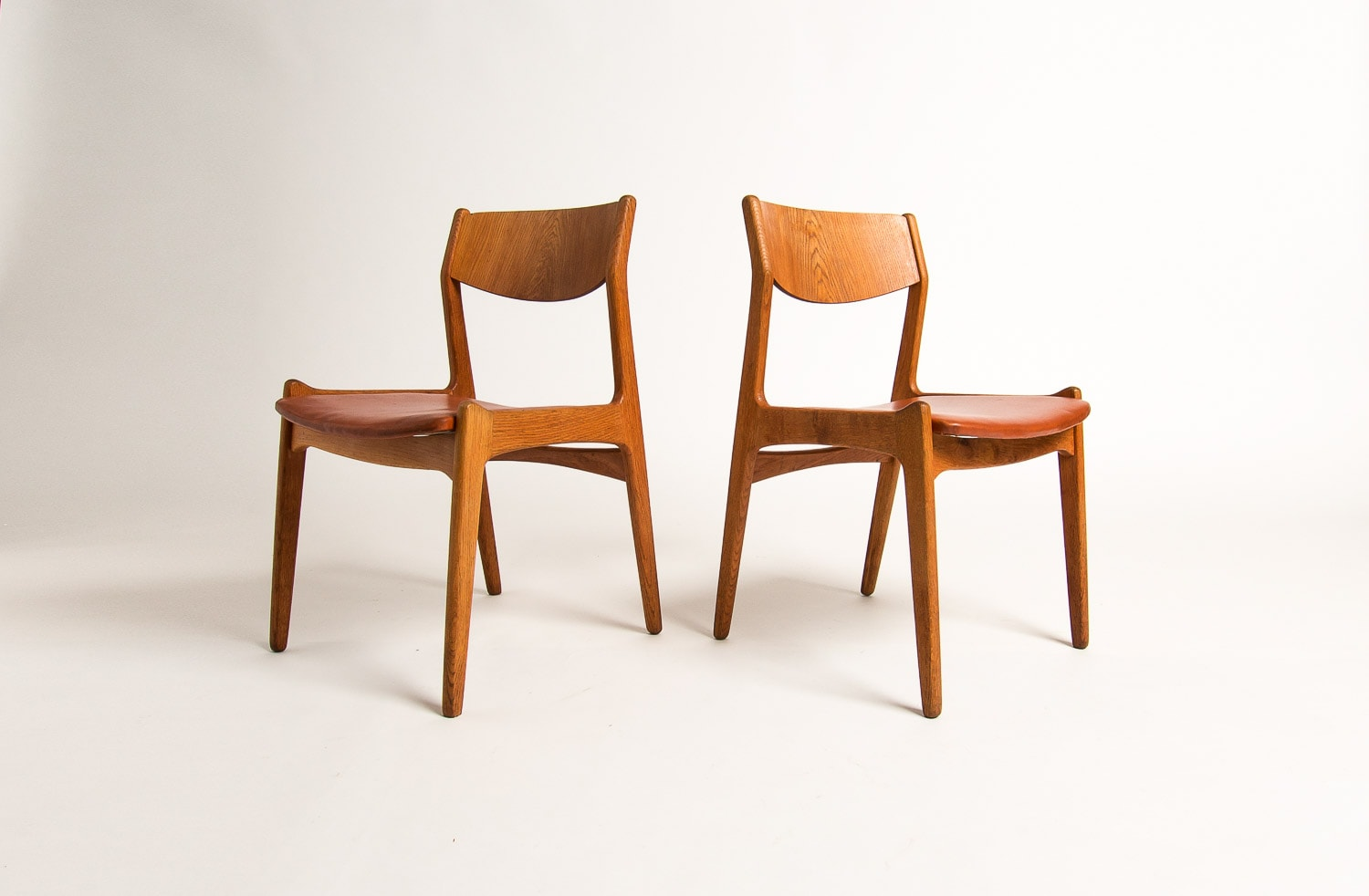 Danish dining chairs leather oak mid century London