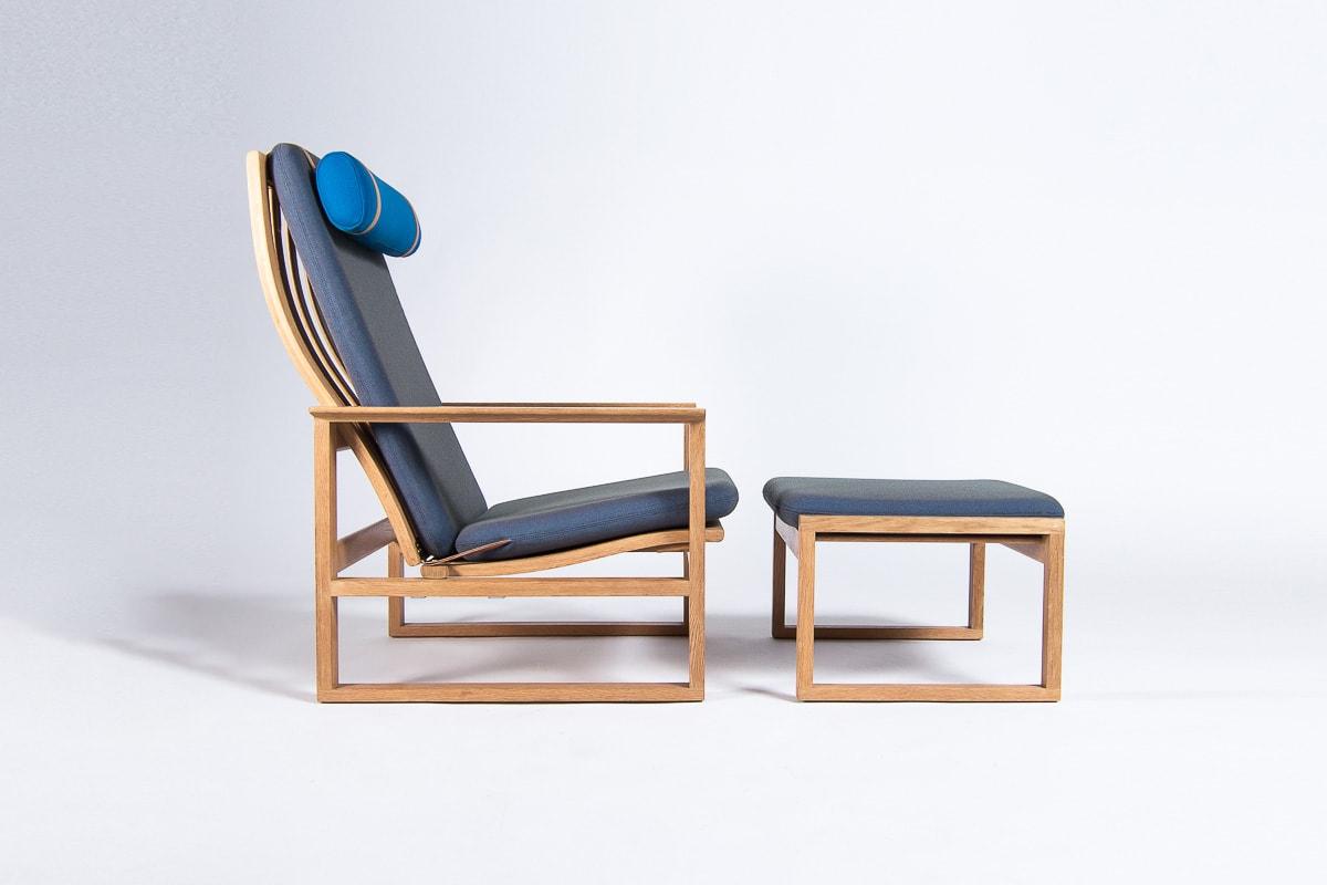 Danish mid century chair & stool oak mogensen danish 1950's