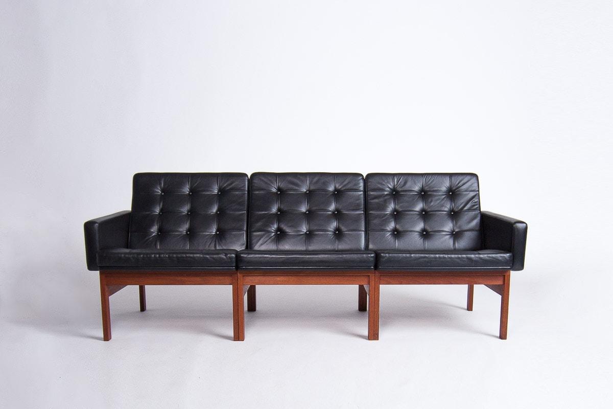 mid century sofa leather black moduline dansih London