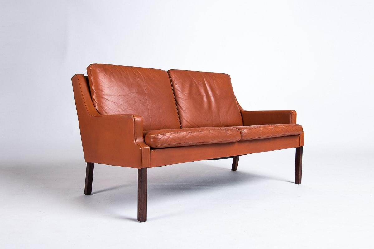 Vintage leather sofa mid century danish rosewood London 1950's