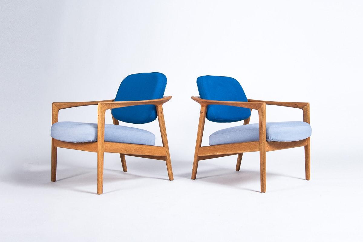 Mid century chair oak wool blue kvadrat folke ohlsson