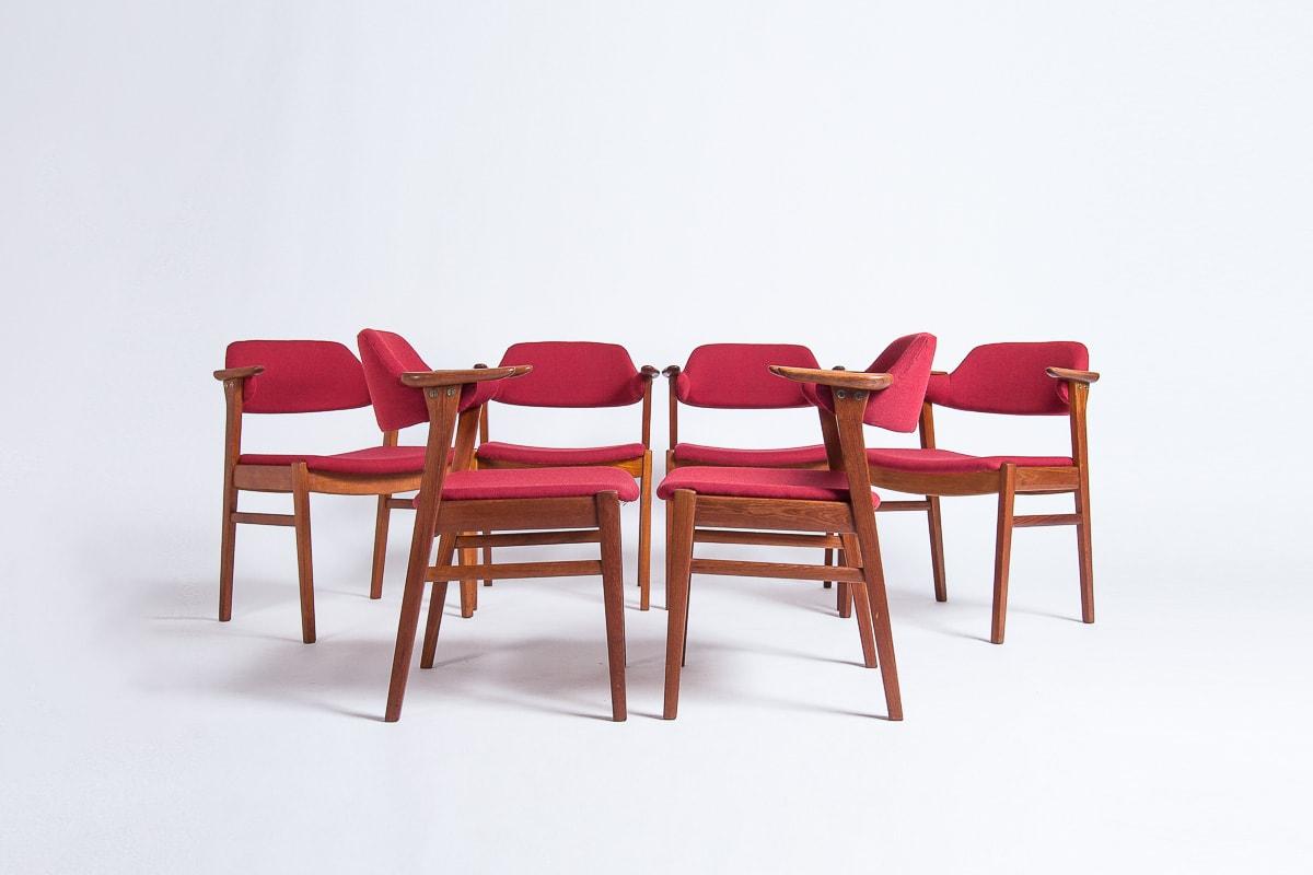 Vintage teak dining chairs mid century gabriel fabric red London