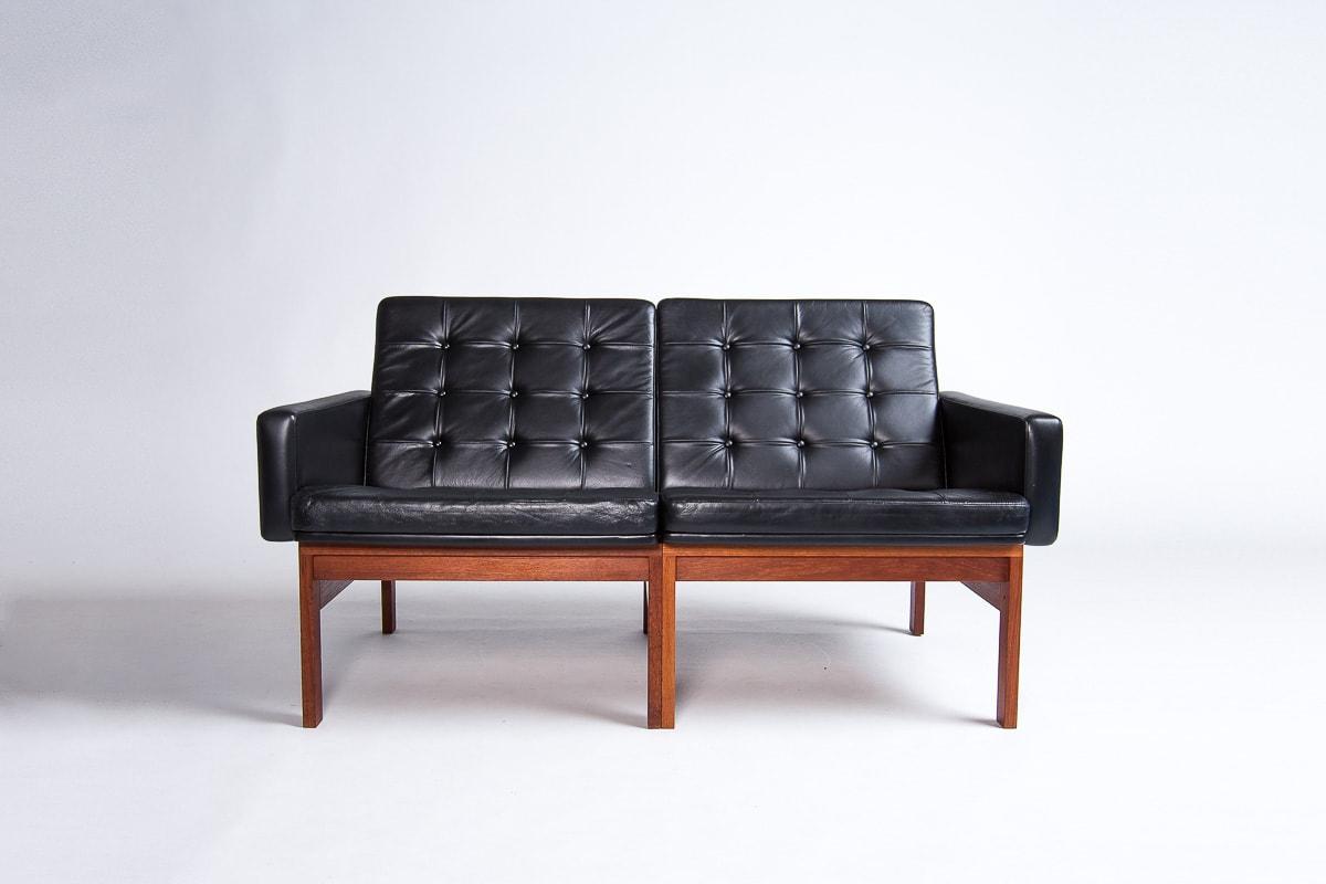 retro leather sofa black danish design mid century London